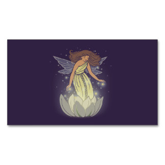 Magic Fairy White Flower Glow Fantasy Art Magnetic Business Cards (Pack Of 25)