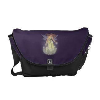 Magic Fairy White Flower Glow Fantasy Art Messenger Bag