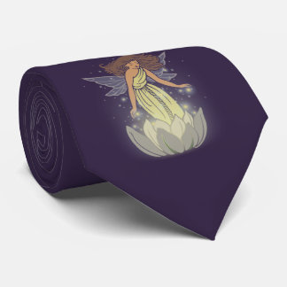 Magic Fairy White Flower Glow Fantasy Art Neck Tie