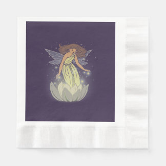Magic Fairy White Flower Glow Fantasy Art Coined Luncheon Napkin