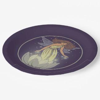 Magic Fairy White Flower Glow Fantasy Art Paper Plate