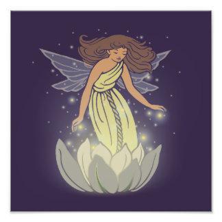 Magic Fairy White Flower Glow Fantasy Art Photo Print