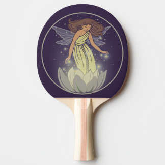 Magic Fairy White Flower Glow Fantasy Art Ping-Pong Paddle