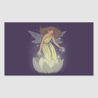 Magic Fairy White Flower Glow Fantasy Art Rectangular Sticker