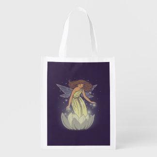 Magic Fairy White Flower Glow Fantasy Art Reusable Grocery Bags