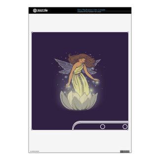 Magic Fairy White Flower Glow Fantasy Art Skins For PS3 Slim