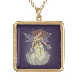Magic Fairy White Flower Glow Fantasy Art Square Pendant Necklace