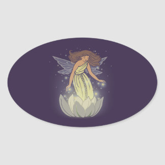 Magic Fairy White Flower Glow Fantasy Art Oval Sticker