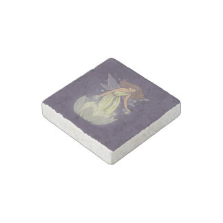 Magic Fairy White Flower Glow Fantasy Art Stone Magnet