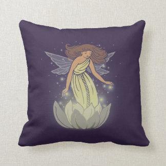 Magic Fairy White Flower Glow Fantasy Art Throw Pillow