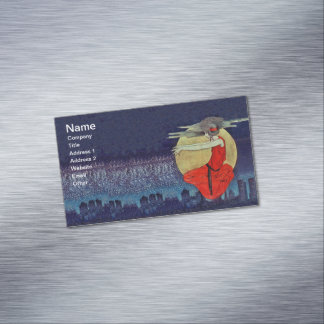 Magic Floating Woman Moon Night Sky Witch Business Card Magnet
