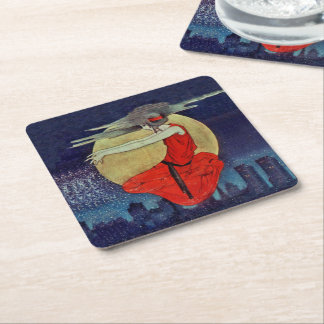 Magic Floating Woman Moon Night Sky Witch Square Paper Coaster