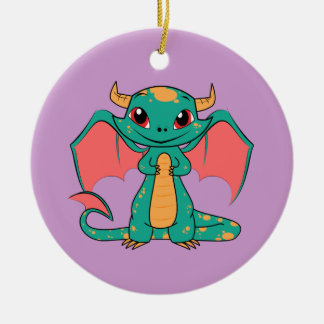 Magic Flying Dragon - Cute Smile Ceramic Ornament