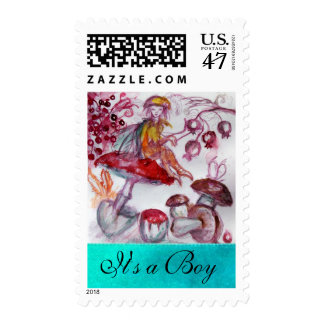 MAGIC FOLLET OF MUSHROOMS / BLUE NEW BABY BOY POSTAGE STAMP