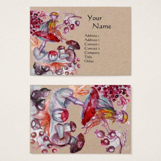 MAGIC FOLLET OF MUSHROOMS Fantasy Kraft Paper Business Card