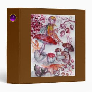 MAGIC FOLLET OF MUSHROOMS Fantasy Red Brown Recipe 3 Ring Binder