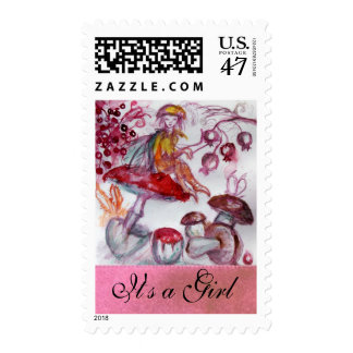 MAGIC FOLLET OF MUSHROOMS / PINK NEW BABY GIRL POSTAGE STAMP