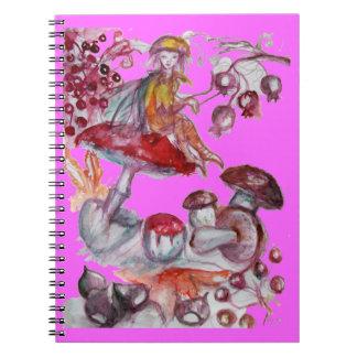 MAGIC FOLLET OF MUSHROOMS Red Pink Floral Fantasy Notebook