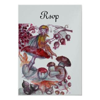 MAGIC FOLLET OF MUSHROOMS Red Silver Fantasy RSVP Card