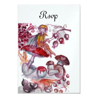 MAGIC FOLLET OF MUSHROOMS Red White Fantasy RSVP Card
