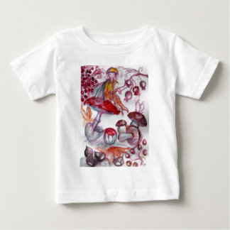 MAGIC FOLLET OF MUSHROOMS Red White Floral Fantasy Baby T-Shirt