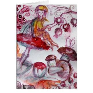 MAGIC FOLLET OF MUSHROOMS Red White Floral Fantasy Card