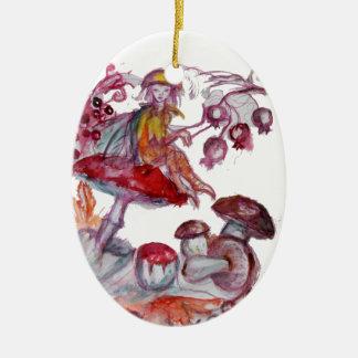 MAGIC FOLLET OF MUSHROOMS Red White Floral Fantasy Ceramic Ornament