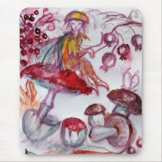 MAGIC FOLLET OF MUSHROOMS Red White Floral Fantasy Mouse Pad