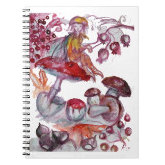 MAGIC FOLLET OF MUSHROOMS Red White Floral Fantasy Notebook
