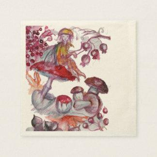 MAGIC FOLLET OF MUSHROOMS Red White Floral Fantasy Paper Napkin