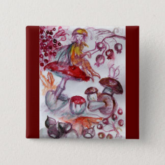 MAGIC FOLLET OF MUSHROOMS Red White Floral Fantasy Pinback Button