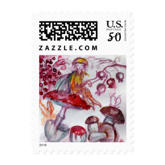 MAGIC FOLLET OF MUSHROOMS Red White Floral Fantasy Postage