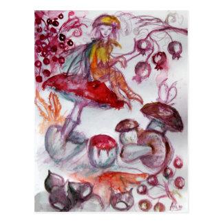 MAGIC FOLLET OF MUSHROOMS Red White Floral Fantasy Postcard