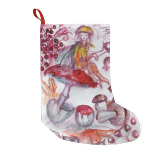 MAGIC FOLLET OF MUSHROOMS Red White Floral Fantasy Small Christmas Stocking