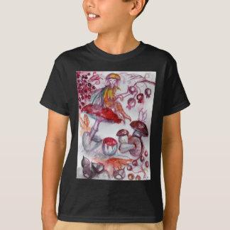 MAGIC FOLLET OF MUSHROOMS Red White Floral Fantasy T-Shirt