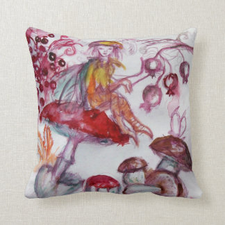 MAGIC FOLLET OF MUSHROOMS Red White Floral Fantasy Throw Pillow