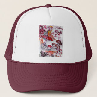 MAGIC FOLLET OF MUSHROOMS Red White Floral Fantasy Trucker Hat