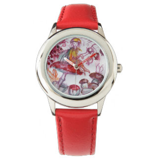 MAGIC FOLLET OF MUSHROOMS Red White Floral Fantasy Wrist Watch