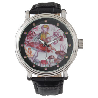 MAGIC FOLLET OF MUSHROOMS Red White Floral Fantasy Wristwatch