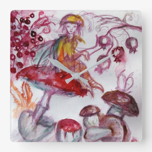 MAGIC FOLLET OF MUSHROOMS Whire Red Floral Fantasy Square Wall Clock