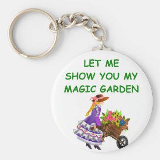magic garden basic round button keychain