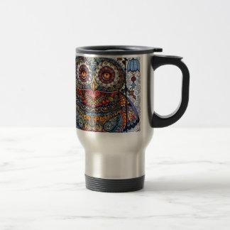 Magic graphic owl painting 15 oz stainless steel travel mug