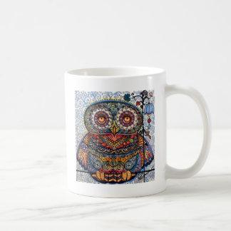 Magic graphic owl painting classic white coffee mug