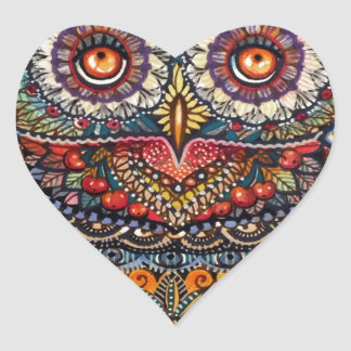 Magic graphic owl painting heart sticker