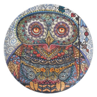 Magic graphic owl painting melamine plate
