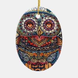 Magic graphic owl painting ornament