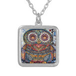 Magic graphic owl painting silver plated necklace