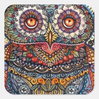 Magic graphic owl painting square sticker