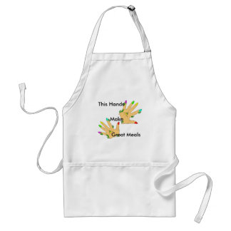 magic hand with colors nails adult apron