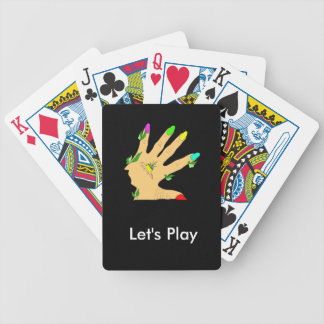 magic hand with colors nails bicycle playing cards